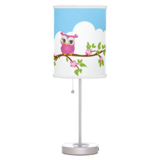 Cute Owl Girl on a Branch Table Lamp