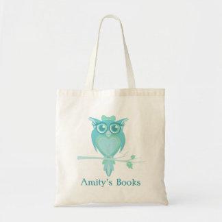 Cute owl girls aqua mint green library bag