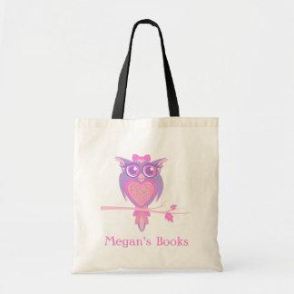 Cute owl girls library bag