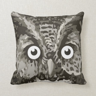 Cute Owl Gray Gender Neutral New Baby's Room Throw Pillow