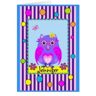Cute Owl Happy Name & Birthday text Card