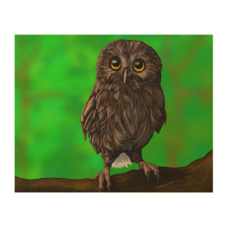 Cute Owl in a Forest on Wood Wood Print