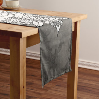 Cute owl in black and white, short table runner