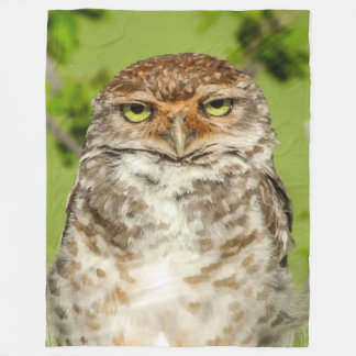 Cute Owl in Nature Picture Fleece Blanket