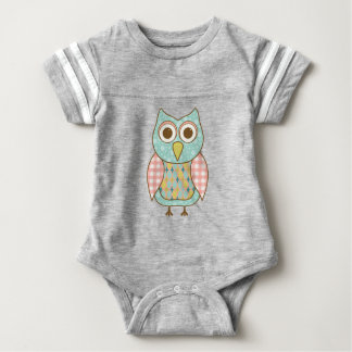 Cute Owl in Pink and Blue Baby Bodysuit