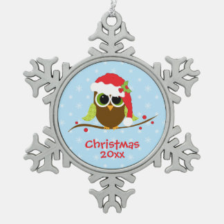 Cute Owl in Santa Hat Christmas Snowflake Ornament