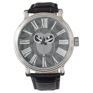 Cute Owl in Shades of Grey with Roman Numerals Watch