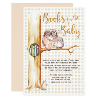 Cute Owl in Tree Baby Shower Book Request Card