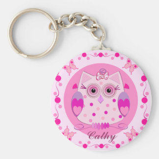 Cute Owl Keychain with Name