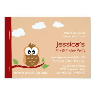 "Cute Owl Kids Birthday Party 5"" X 7"" Invitation Card"