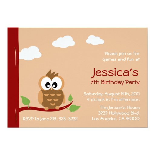 Cute Owl Kids Birthday Party Invitation