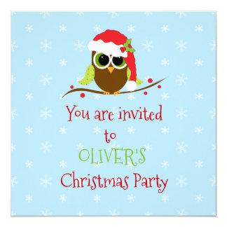 Cute Owl Kids Christmas Party Invitations