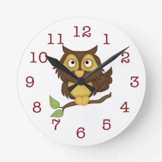Cute Owl Kid's Wall-clock Round Clock