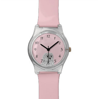 Cute Owl Light Pink Numbers Watch