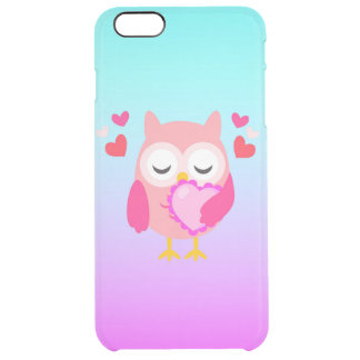 Cute Owl Love Heart Pink Purple Turquoise Ombre Clear iPhone 6 Plus Case