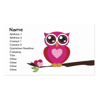 Cute Owl Love Hearts Business Card Templates