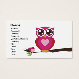 Cute Owl Love Hearts Girly Retro Business Card