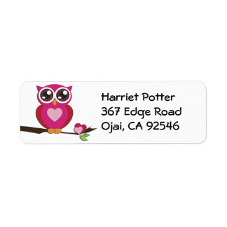 Cute Owl Love Hearts Girly Retro Return Address Label