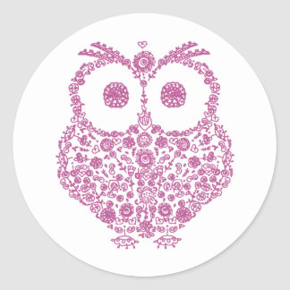 CUTE OWL LOVERS GIFT ROUND STICKER