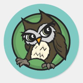 CUTE OWL MATTE ROUND STICKERS