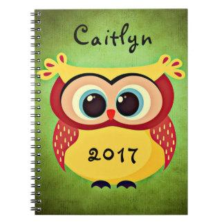 Cute Owl Name Date Notebook
