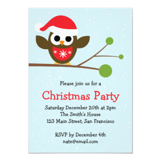 Cute Owl on a Branch - Christmas Party Invitation