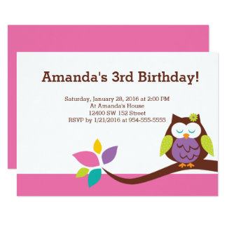 Cute OWL on a branch Girl Animals Birthday Card