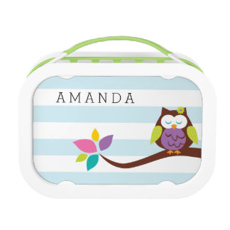 Cute OWL on a branch on a horizontal stripes Lunch Boxes