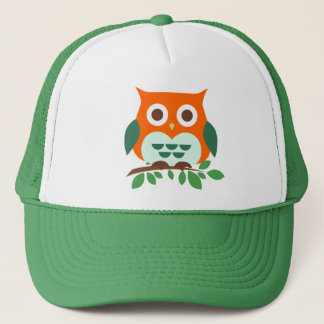 Cute Owl on a Branch Trucker Hat
