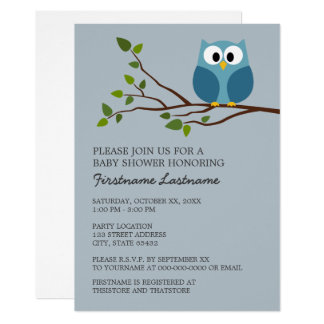 Cute Owl on Branch Baby Boy Shower Card