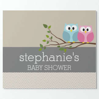 Cute Owl on Branch Baby Girl or Boy Shower