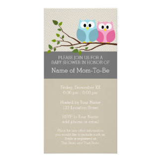 Cute Owl on Branch Baby Girl or Boy Shower Customized Photo Card