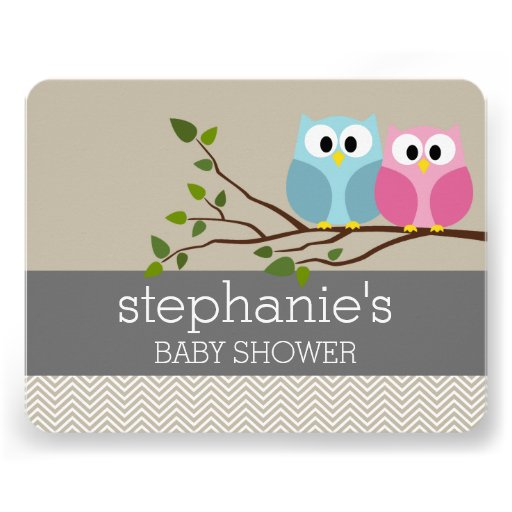 Cute Owl on Branch Baby Girl or Boy Shower Custom Announcements