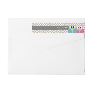 Cute Owl on Branch Baby Girl or Boy Shower Wraparound Return Address Label