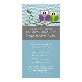 Cute Owl on Branch - Blue Baby Boy Shower Personalized Photo Card