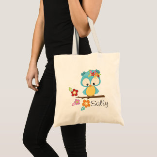 Cute Owl on Branch Personalized Tote Bag