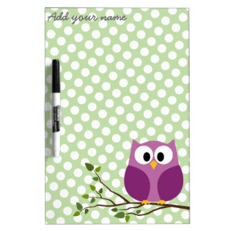 Cute Owl on Branch with Polka Dot Pattern and Name Dry Erase Board