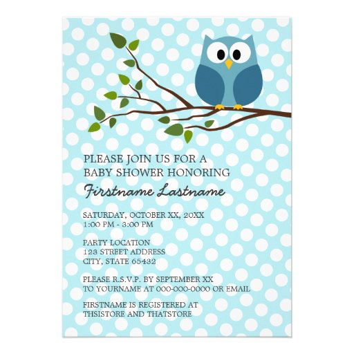 Cute Owl on Branch with polka dots Baby Boy Shower Custom Announcement