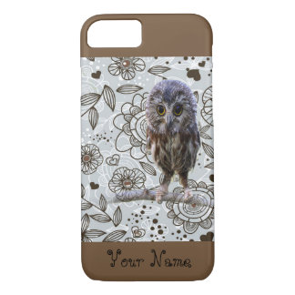 Cute Owl On Fun Floral Background Iphone Case