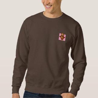 Cute Owl on Pink Heart Pattern Background Sweatshirt