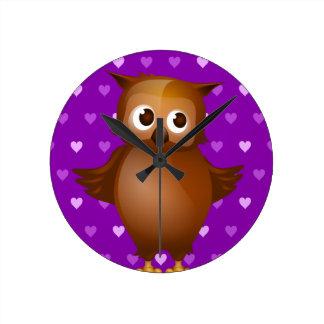 Cute Owl on Purple Heart Pattern Background Wallclocks