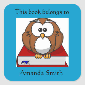 Cute Owl on Red Book Bookplate Square Sticker