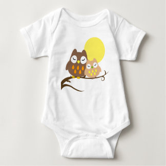 Cute owl on the tree baby bodysuit