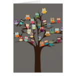 Cute Owl On Tree | Background Greeting Card