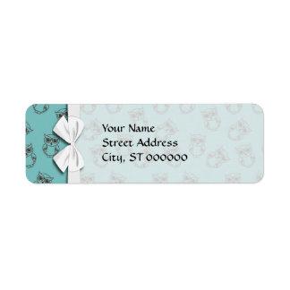 cute owl outlines on blue return address label