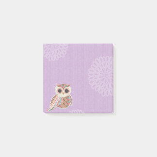 Cute Owl Over Purple Post-It Notes
