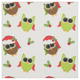 Cute Owl Pattern Christmas Fabric