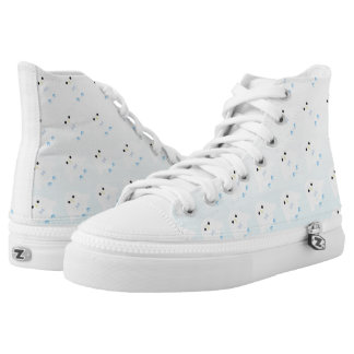 Cute owl pattern pastel blue white ombre high tops