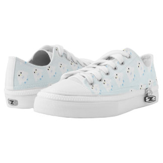 Cute owl pattern pastel blue white ombre Low-Top sneakers