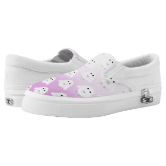 Cute owl pattern pastel pink white ombre Slip-On sneakers
